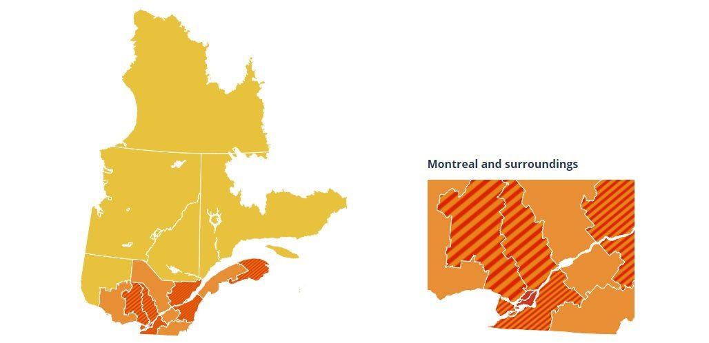 Quebec- Montreal COVID color zones-2020-october