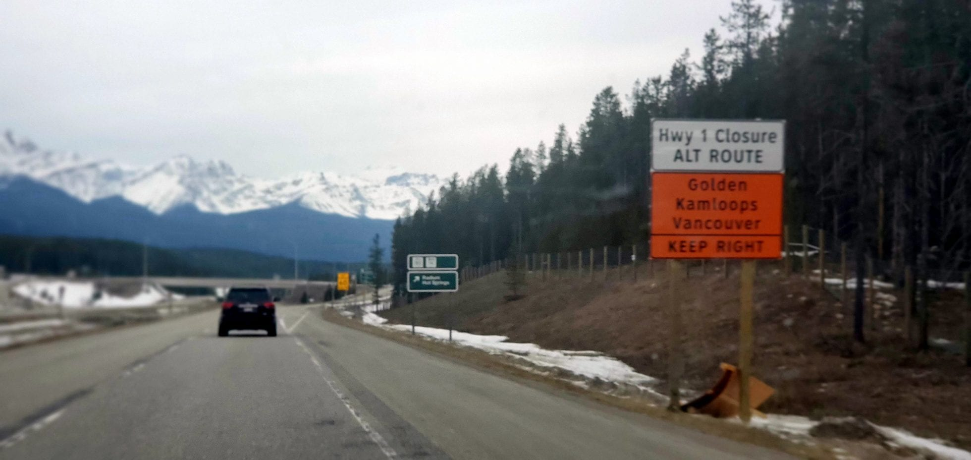 Radium Detour Signage