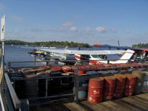 Kenora at Watson's floatplane dock - fuel drums for remote camps