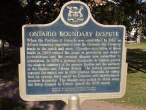 Kenora Plaque about Ontario Boundary Dispute