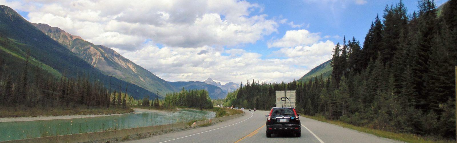 Kicking Horse River beside Trans-Canada