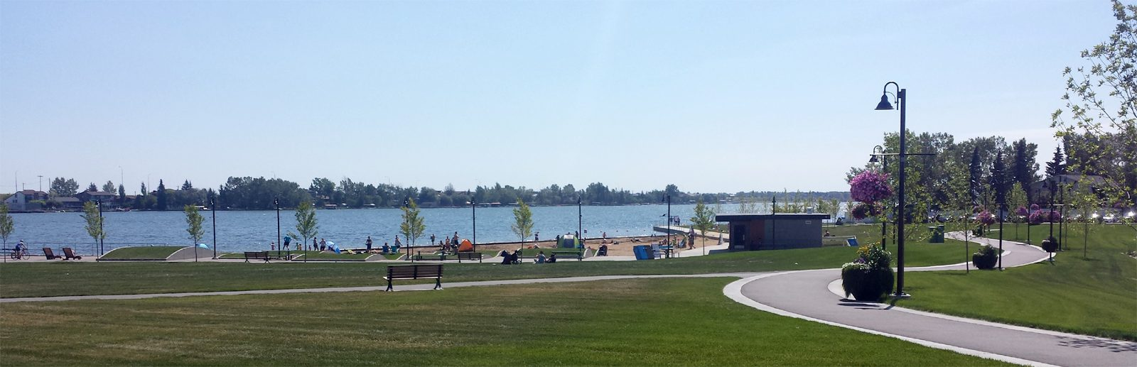Lake Chestermere View with beach
