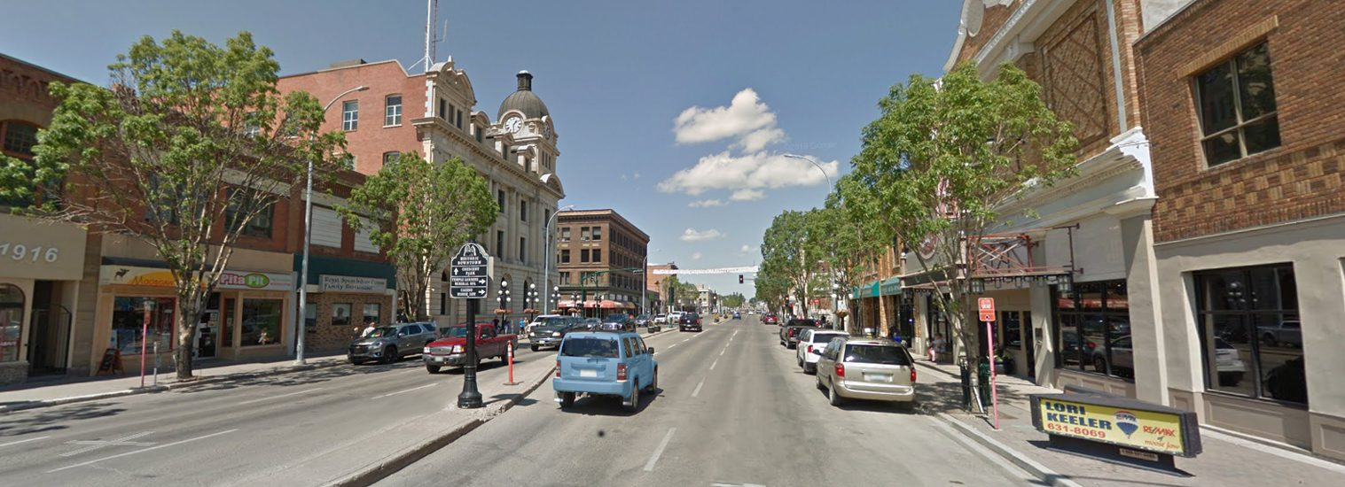 Moose Jaw's historic downtown with City Hall and Capitol Theatre