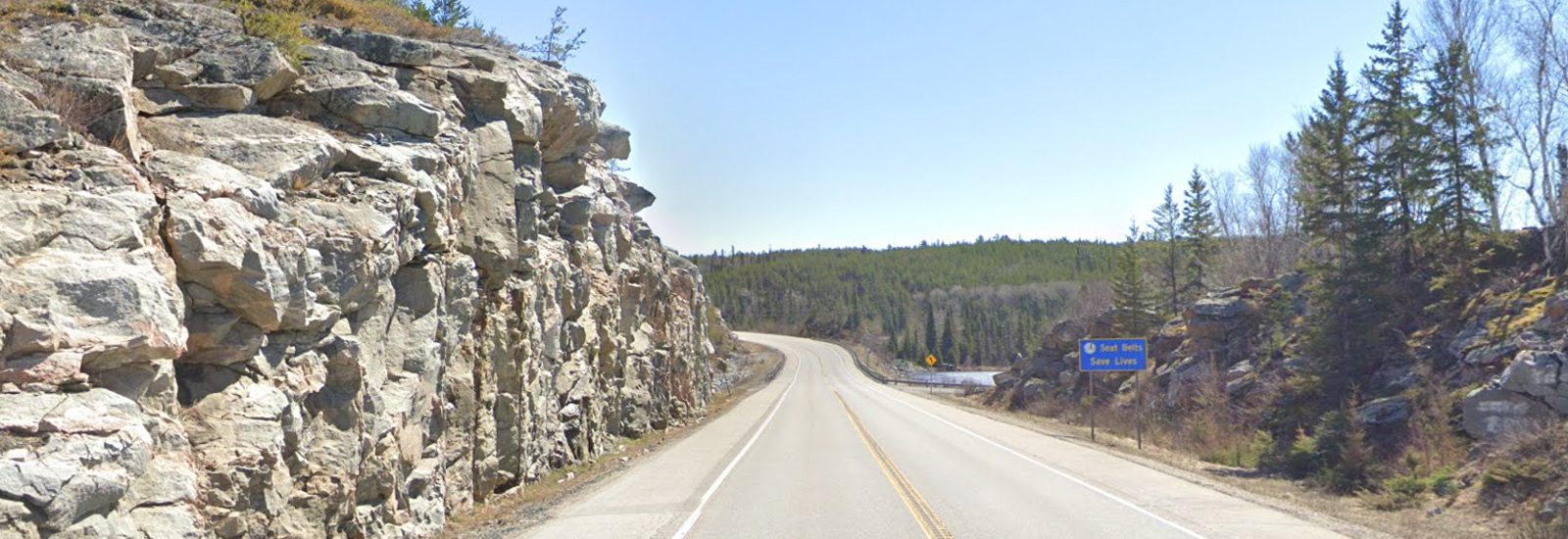 Rock cut on Highway 17 at Dogtooth Lake