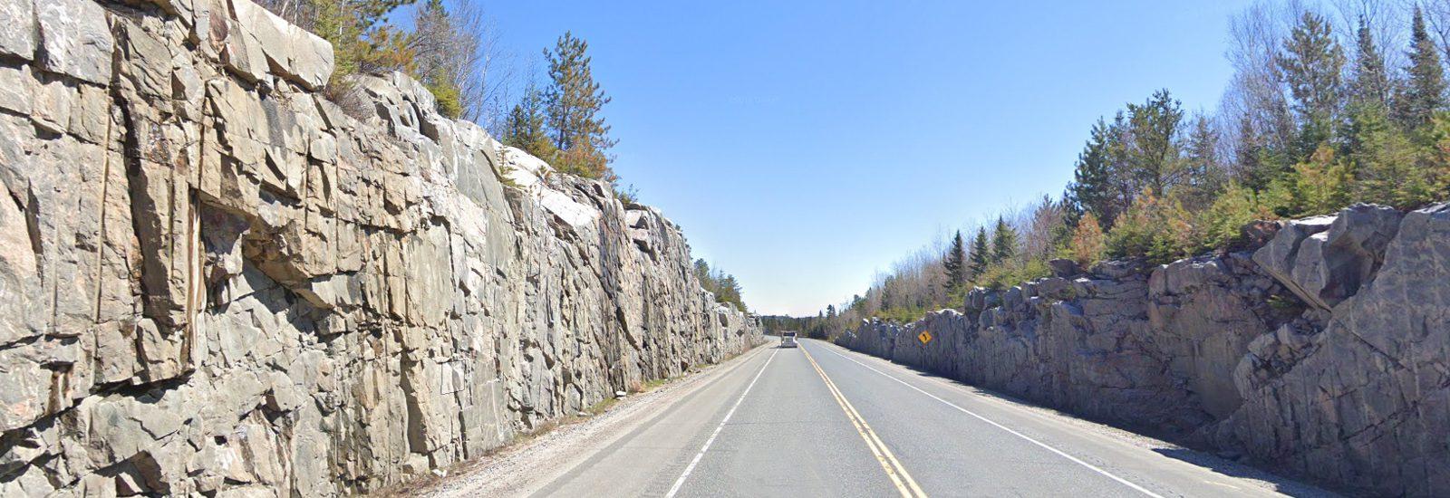 Rock cut on Highway 17A - Kenora Bypass