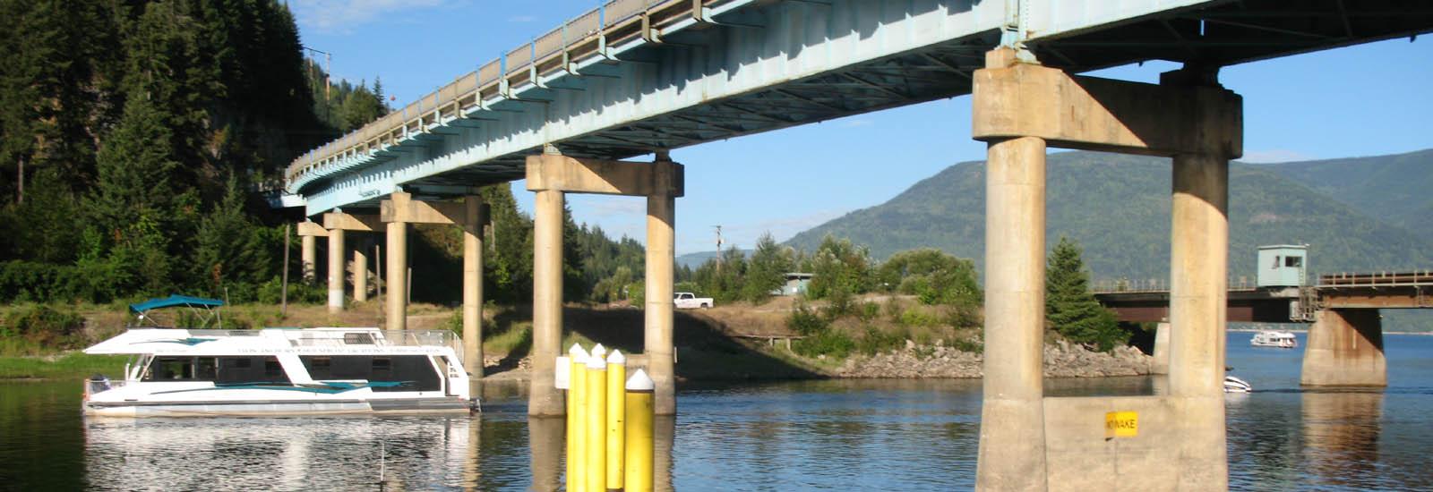 Sicamous Bridge with houseboat -sliver