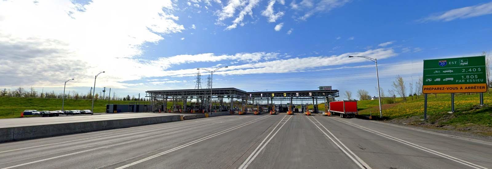 Highway 30 toll plaza-closeup