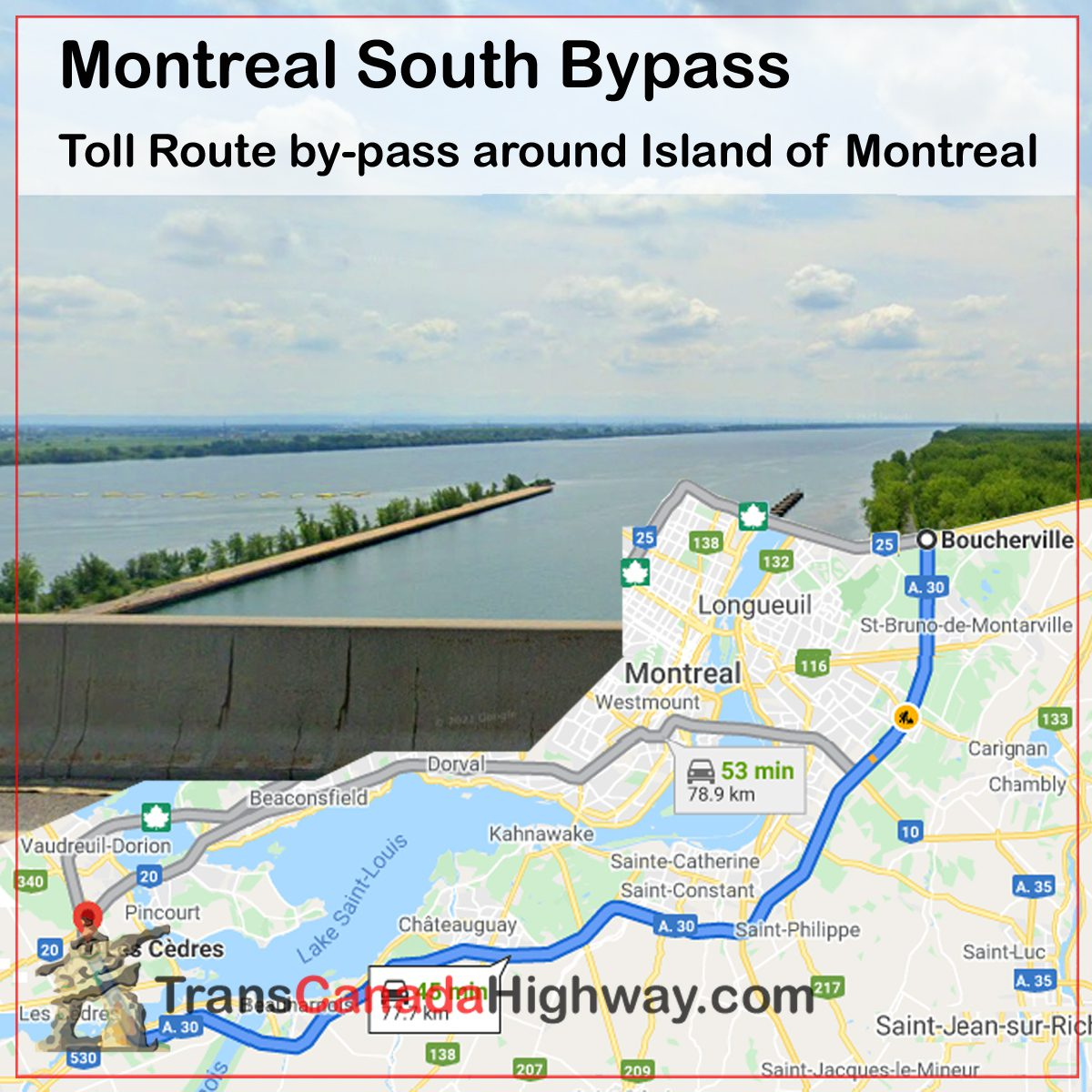 Quebec Itinerary - Montreal South Bypass